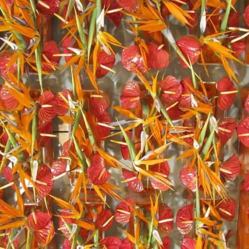 Blumendekoration mit Anthurienblüten und Strelizienblüten