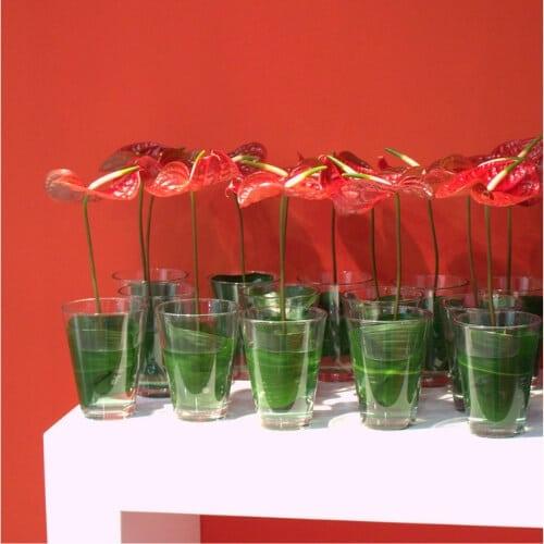 Stehtischdekoration mit Anthurienblüten