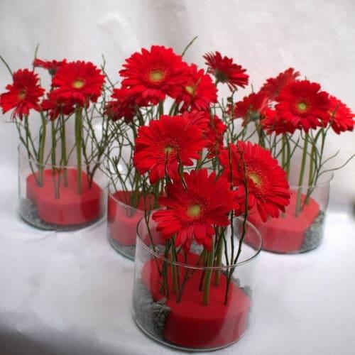 Tischdekoration mit roten Germini 2