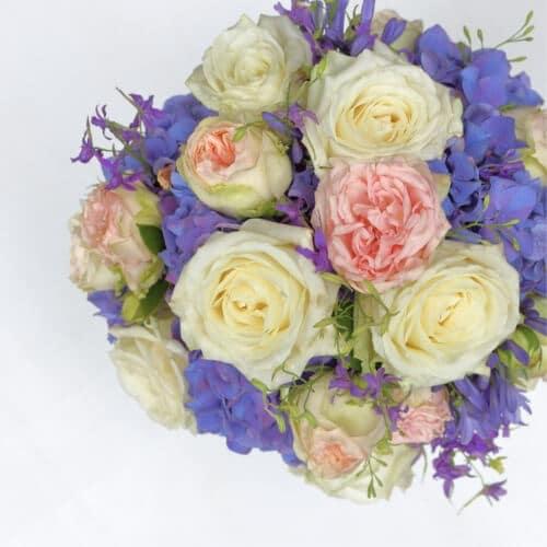 Brautstrauß mit blauen Hortensien - Hochzeit in Düsseldorf