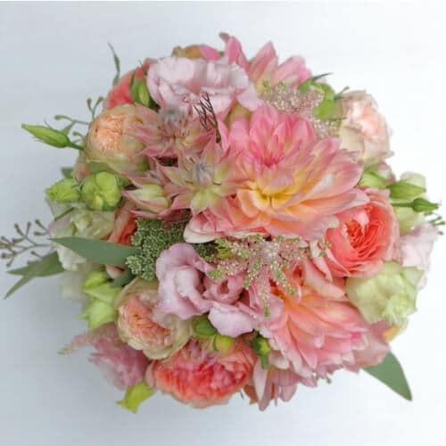 Brautstrauß mit rosa Sommerblumen - Hochzeit in Düsseldorf