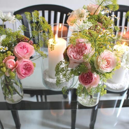 Tischdekoration mit Rosen 1
