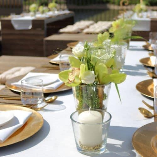 Tischdekoration mit Orchideen - Blüten