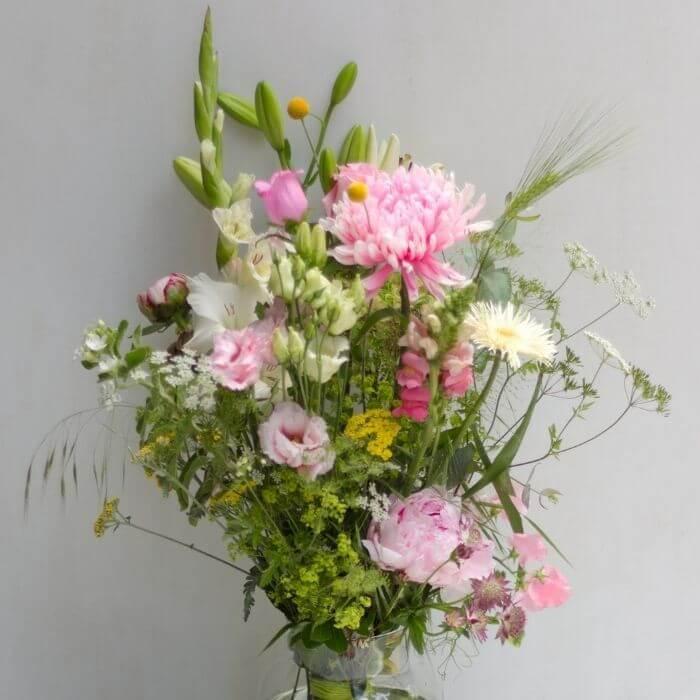 Sommerblumenstrauß pink weiß gelb